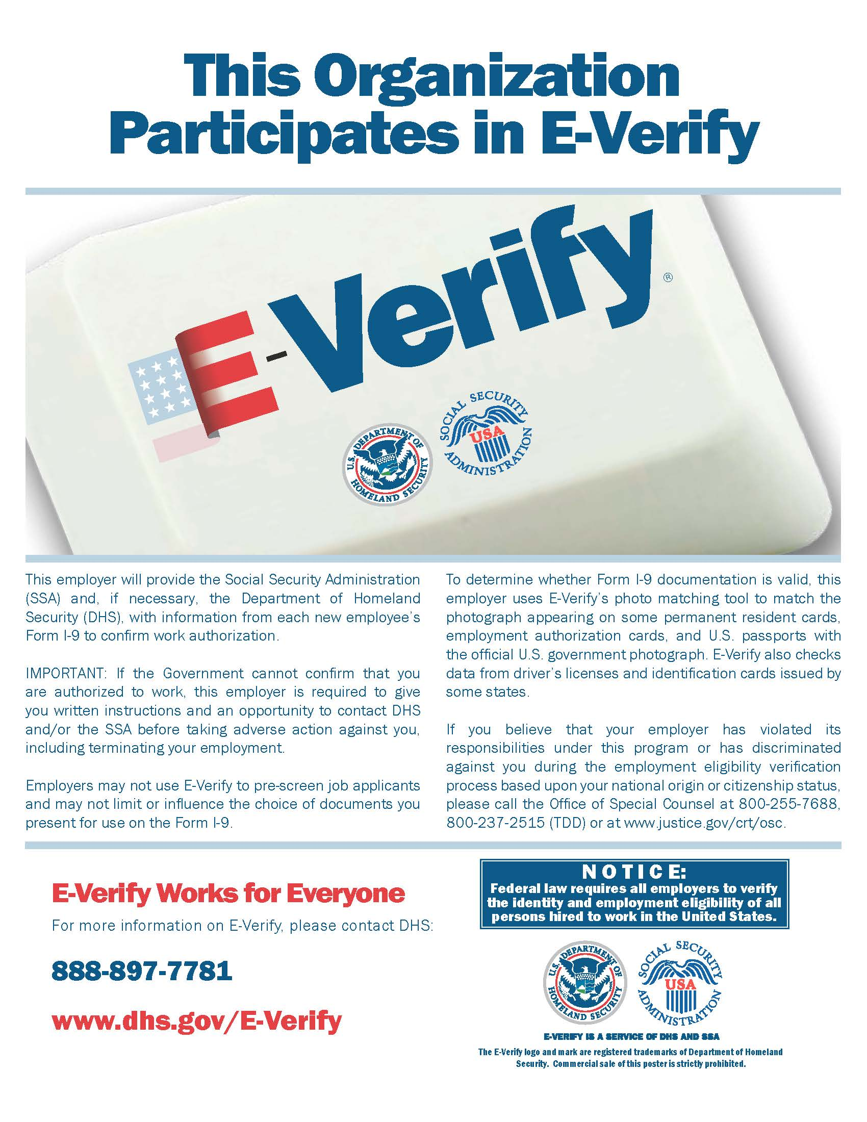 E Verify Participation Poster